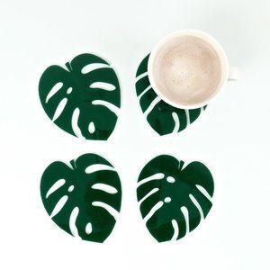 Blush Monstera Acrylic Coasters
